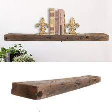 rustic wood floating wall shelf
