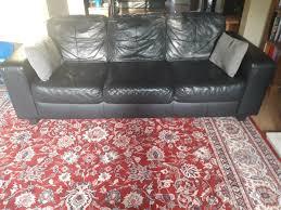 2 x three seater leather sofas