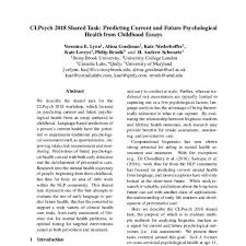 Childhood Essays Clpsych 2018 Shared Task Predicting Current And Future