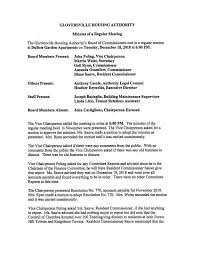 Minutes Of The Meeting Gloversville Housing Authority Board Meeting Minutes
