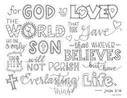 Bible Verse Coloring Page John 316 Printable Bible Coloring