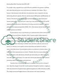 Transition Essay Examples Role Transition From Lpn To Rn Essay Example Topics And