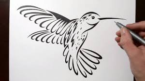 tribal hummingbird tattoo drawing. Brilliant Tribal How To Draw A Hummingbird  Tribal Tattoo Design Style Intended Drawing