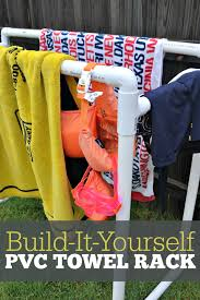 how to build a functional pvc pool towel rack a simple diy that is perfect for your backyard pool needs the rack will keep dripping towels and suits off