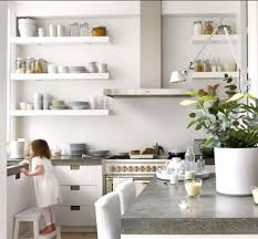Chunky White Floating Shelves spain contemporary open shelving small kitchen designs Love the 24