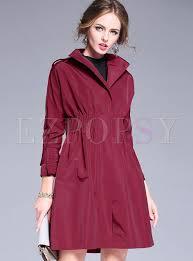 brief tight waist lapel big hem trench coat