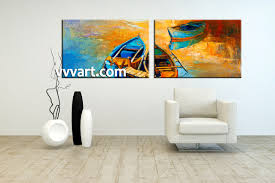 Living Room Canvas Paintings 2 Piece Boat Ocean Oil Paintings Yellow Photo Canvas