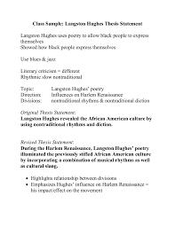 Class Sample Langston Hughes Thesis Statement Langston