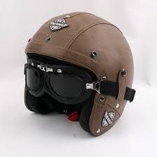 whole vintage motorcycle helmet retro pu leather open face helmet brand kco scooter helmet men women s moto casco with free goggles