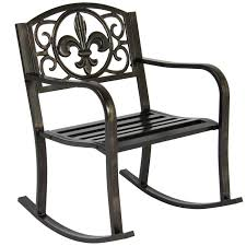 best choice s metal rocking chair seat for patio porch deck outdoor scroll design bronze reclining