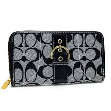 Coach Buckle In Signature Large Grey Wallets AXH