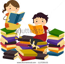 ilration of stick kids reading books from piles of reading materials