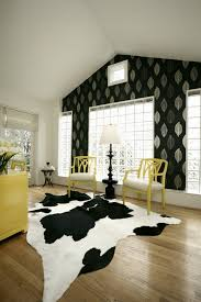 home office decorating ideas yellow furniture black white cowhide area rug