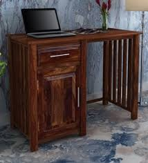 abbey solid wood study laptop table with side storage in provincial teak finish