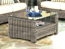 rattan coffee table round glass top wicker with wood