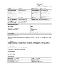 Work Description Form Job Description Form