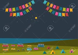 夏祭りの夜パーティー音楽ポスターの背景に色フラグレトロな車バン