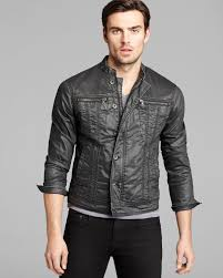 lyst john varvatos usa denimstyle leather jacket in black for men