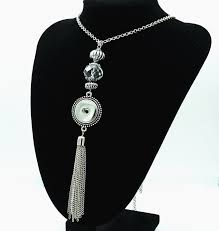 pendant necklace snap on jewelry crystal beaded with tel silver free snap gb561