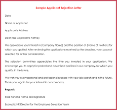 Resume Rejection Letter Rejection Letters 20 Free Samples Formats For Hr