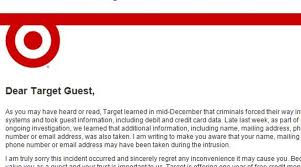 Letter Of Personal Apology Magnificent We're Sorry You Got Hacked Target's Letter To Unlucky Shoppers