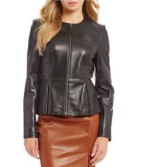 description from antonio melani this jacket features genuine leather fabrication