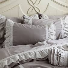 grey ruffle queen duvet cover set