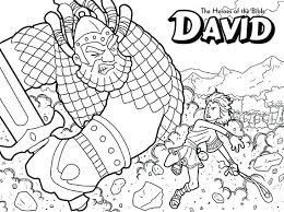 David And Goliath Coloring Page The Heroes Of The Bible Versus