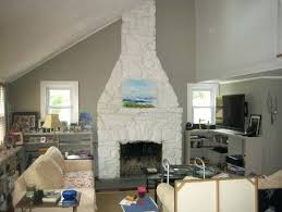 stone fireplace painted white stacked stone fireplace painted white