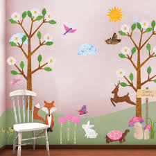 my wonderful walls forest animals multi l and stick removable wall decals woodland theme wall mural 83 piece jumbo set stk1013 the home depot