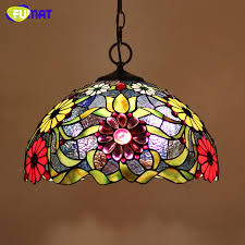 fumat stained glass tiffany lamp european style art glass flower lampshade pendant lights living room hotel bar kitchen led light fixtures bedroom hanging