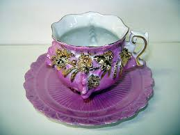 Decorative Cups And Saucers VINTAGE Pink with Gold Decoration Footed Cup and Saucer Very Old 11