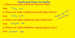 General Knowledge Questions And Answers | National Days in India ...