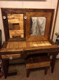 rustic makeup vanity. diy pallet vanity with stool rustic makeup r