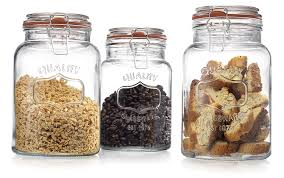 Kitchen Storage Canisters Amazoncom Glass Canister Quality Set Of 3 Clear Round Jar With