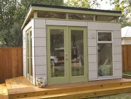 N Breathtaking Prefab Sheds Inspiring Designs Beautiful Feature  White Stained Wooden Office Shed And Clear Glass Door With Broken