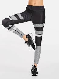 Patterned Yoga Pants Interesting 48 Color Block Patterned Yoga Leggings In BLACK XL ZAFUL
