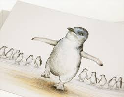 penguin drawings in pencil. Interesting Pencil Little Penguin Greeting Card Australian Wildlife Art Pencil Drawing Beach  Family With Drawings In Pencil P