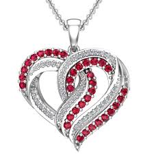 belinda jewelz red and white infused heart necklace in sterling silver com