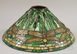 tiffany style leaded jeweled slag glass dragonfly pattern lamp shade