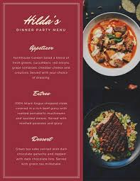 Free Food Menu Template Unique Customize 48 Dinner Party Menu templates online Canva