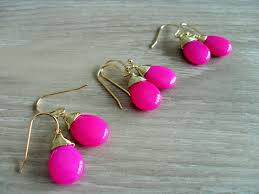 bridesmaid set of 3 pairs wire wrapped fuchsia jade drop earrings hot pink semi