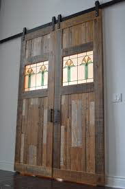 glass barn doors. Reclaimed Barn Door With Stained Leaded Glass Doors