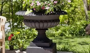 bronze and cast iron garden urns