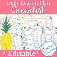 Daily Checklist Planner Editable Lesson Planner Daily Checklist With Pineapples By Carrberry