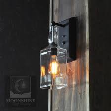 recycled whiskey bottle edison bulb wall sconce