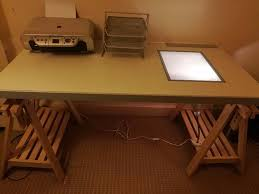 Ikea drafting table with light box and adjustable legs
