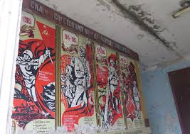 ruined chernobyl nuclear plant will remain a threat for  inside pripyat s school no 1 in ukraine old soviet posters celebrate the 40th anniversary