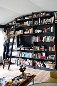Home Tour: Emma's Living Room (A Beautiful Mess). Black BookshelfBookcase  ...