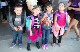 Kids wearing backpack
